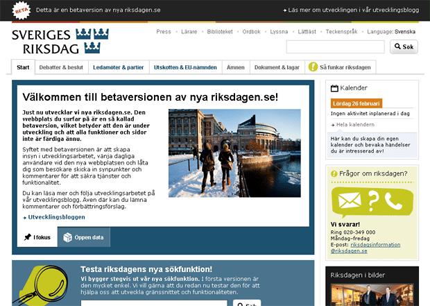 Startsida för riksdagen.se i betaversion