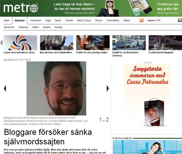 Metro: Bloggare försöker sänka självmordssajten