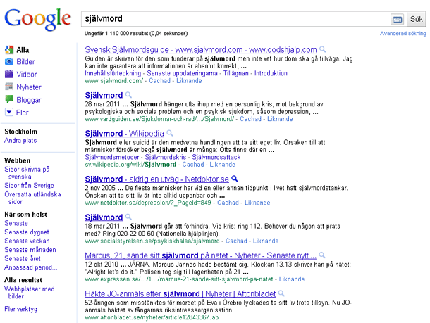 Träfflista för självmord 2011-04-18 med Google Chromes ikognitoläge