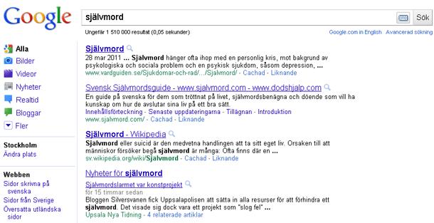 Googles träfflista för självmord 2011-05-13