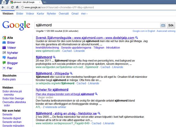 Sökning på självmord på Google