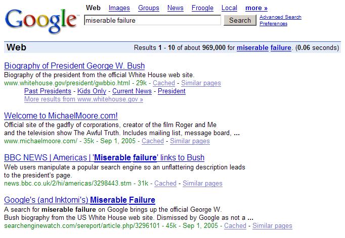 Miserable Failure: ett tidigt exempel på en SEO-kampanj