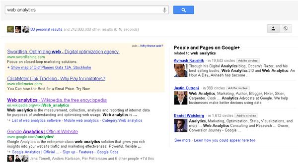 Googles nya träfflista med Google+-träffar till höger