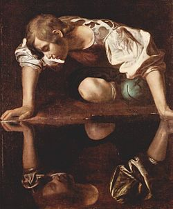 Oljemålning av Caravaggio föreställande Narkissos vid källan. Licens: Public Domain, hämtad från Wikipedia.