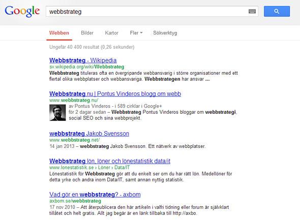 Webbstrateg på Google