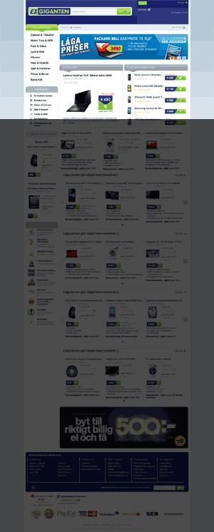 Startsida för Elgiganten