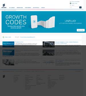 Startsida för Ericsson