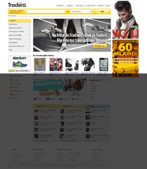 Startsida för Tradera