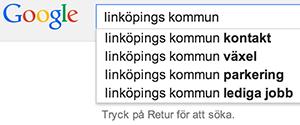 Google Suggest för Linköpings kommun
