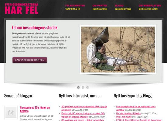 Sajten Sverigedemokraterna har fel, www.sdharfel.se