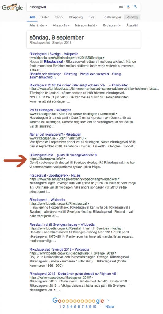 Träfflista på Google för sökningen riksdagsval där Riksdagsval.info ligger på plats 5