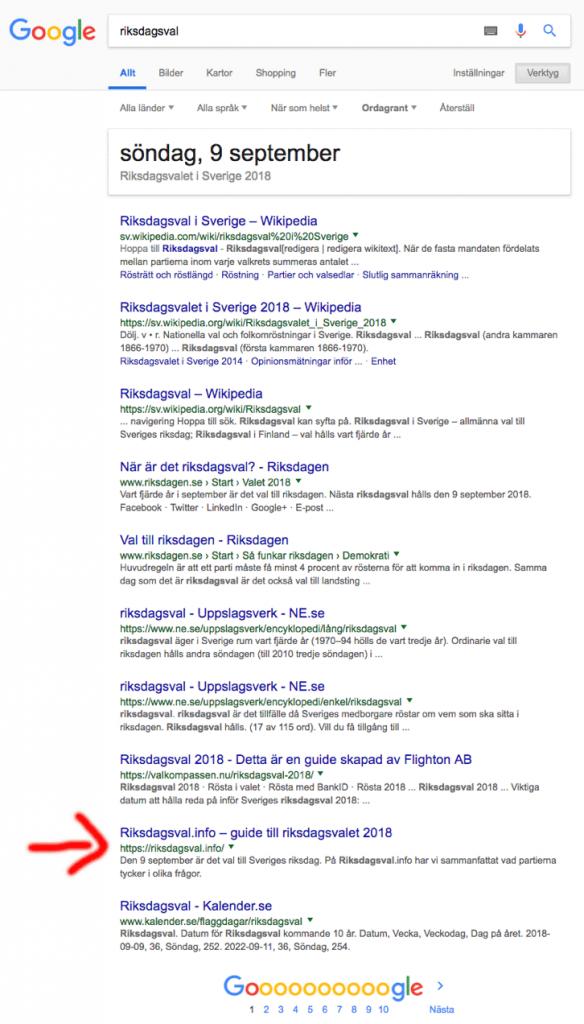 Träfflista på Google för sökningen riksdagsval