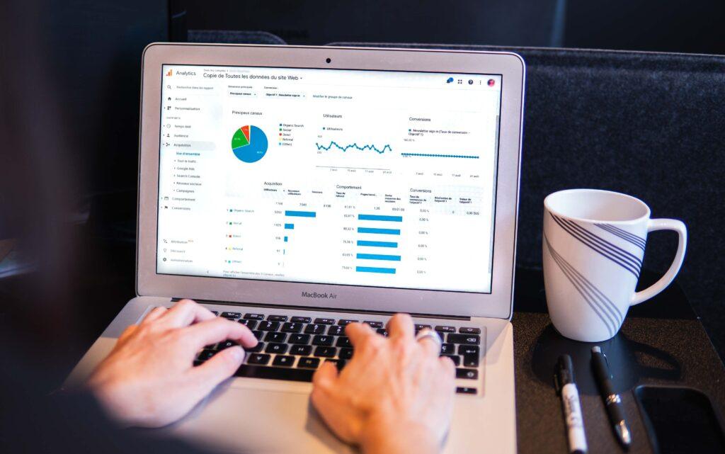 Google Analytics på bärbar dator.